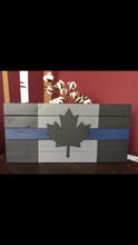 Load image into Gallery viewer, Beautiful Handcrafted Wooden Thin Blue Line / Thin Red /Thin White / Thin Grey / Thin Green or Thin Yellow Canadian Flag Sign