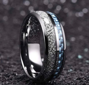 Thin Blue Line Inspired Blue Inlay Meteorite Ring (FREE Shipping)