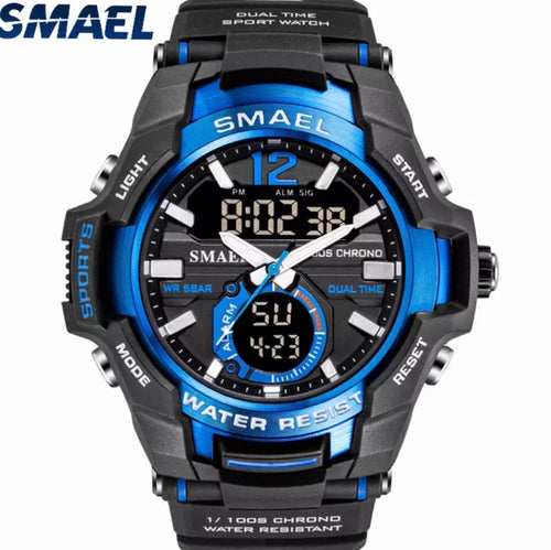 Thin Blue Line Inspired Sports Watch Waterproof 50M Analog Alarm Clock Big Dial Dual Display Wristwatch Digital Watch Stopwatch