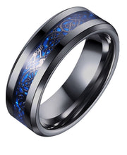 Load image into Gallery viewer, Thin Blue Line Stainless Steel 8mm Blue Black Dragon Pattern Beveled Edges For Men 7-14