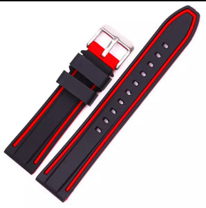 Thin Blue Line / Thin Red Line Silicone Smart Watch Double Line Replacement Band (20, 22, 24, 26 mm FREE Shipping)
