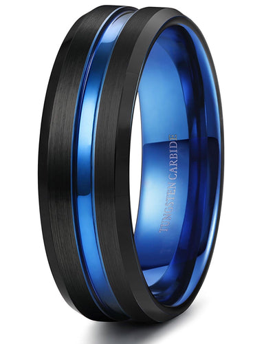 Thin Blue Line 8mm Tungsten Ring for Grooved Brushed Size 7-14