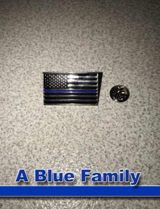 Metal Thin Blue Line American Flag Lapel Pin