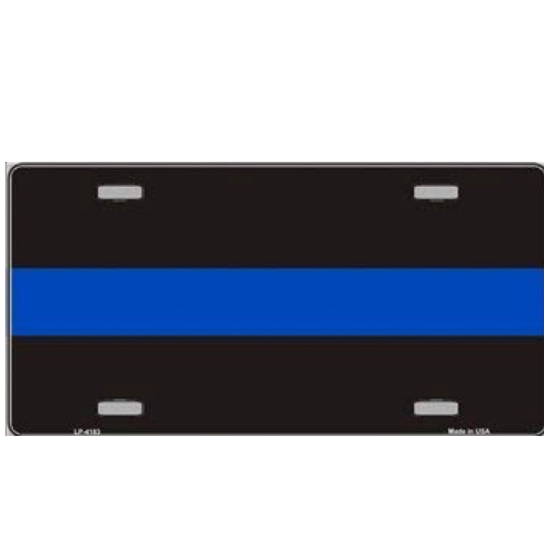 Thin Blue Line Metal License Plate
