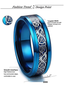 Thin Blue Line 8mm Tungsten Ring Dragon Blue Beveled Edge Size 6-14