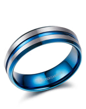 Load image into Gallery viewer, Thin Blue Line 8mm Tungsten Ring for Men Blue Grooved Brushed Size 7-14