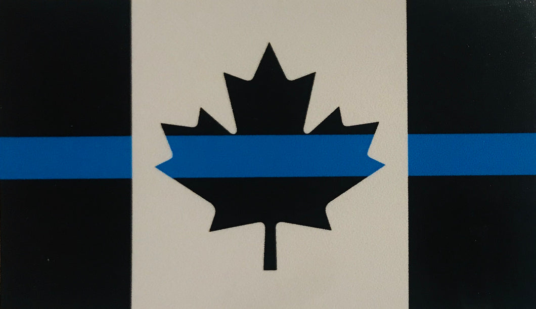 Subdued Thin Blue Line Canada Flag Sticker / Decal