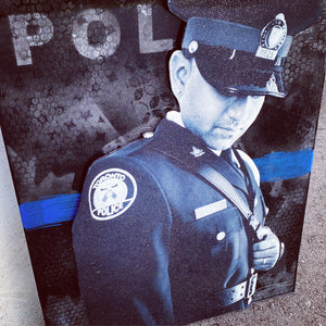 Custom Thin Blue Line Canvas with 3D Portrait or Emblem (Free Shipping)