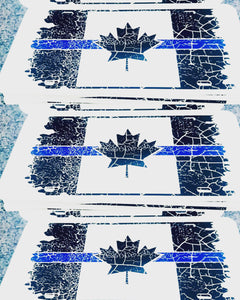 Thin Blue Line Distressed Canadian Flag License Plate