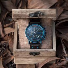 Load image into Gallery viewer, Thin Blue Line Inspired BOBO BIRD Men's Wooden Watch  with engraved Name or Badge # (FREE Shipping)