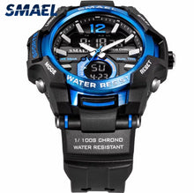 Load image into Gallery viewer, Thin Blue Line Inspired Sports Watch Waterproof 50M Analog Alarm Clock Big Dial Dual Display Wristwatch Digital Watch Stopwatch