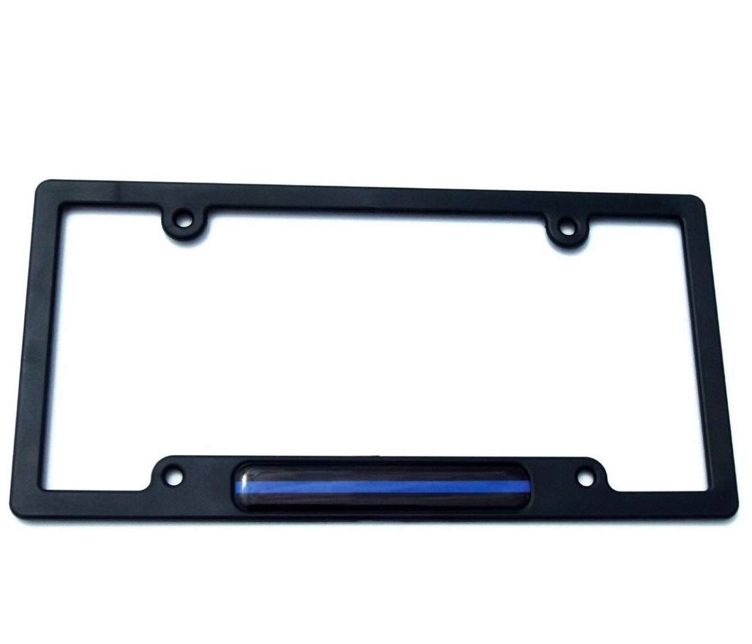 Thin Blue Line Flag Black Plastic Car License Plate Frame Dome Decal