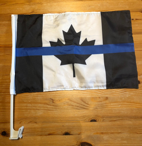 "18"" x 11.5 "" Thin Blue Line Canada Motorcycle / Boat / Vehicle Flag with Mounting Pole FREE shipping!"