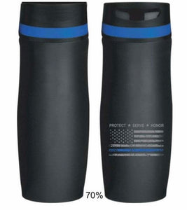 Thin Blue Line Distressed American Flag 14 oz Persona® Wave Vacuum Tumbler / Travel Mug