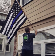 Load image into Gallery viewer, Thin Blue Line American Full Size Black and White Flag