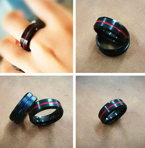 Thin Red Line Black Tungsten Ring