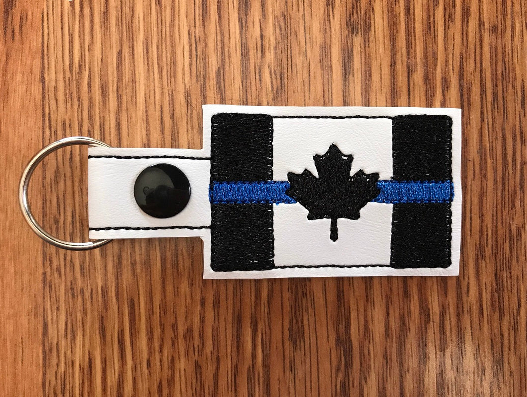 Thin Blue Line Canada Flag Keychain