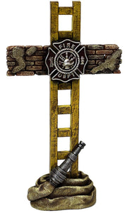 Firefighter  Standing Cross Statue