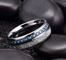 Load image into Gallery viewer, Thin Blue Line Inspired Blue Inlay Meteorite Ring (FREE Shipping)