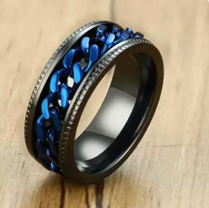 Thin Blue Line Inspired Titanium Stainless Steel Chain Spinner Ring