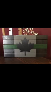 Beautiful Handcrafted Wooden Thin Blue Line / Thin Red /Thin White / Thin Grey / Thin Green or Thin Yellow Canadian Flag Sign