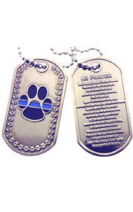 Thin Blue Line K-9 Prayer Brushed Steel Dog Tag
