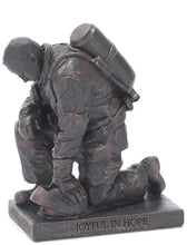 Load image into Gallery viewer, Joyful in Hope Praying Firefighter 5 inch Gray Resin Stone Table Top Figurine