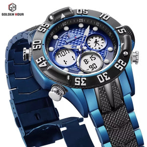 Thin Blue Line GOLDENHOUR Fashion Sport Digital Men's Dual Time LED Alarm Chronograph Display Full Steel Quartz Watch (FREE Shipping)