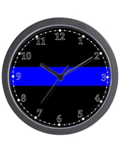 "The Thin Blue Line Unique Decorative 10"" Wall Clock"
