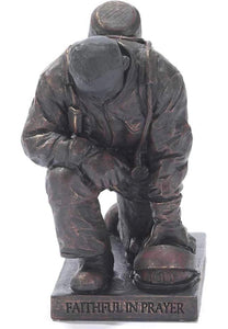 Joyful in Hope Praying Firefighter 5 inch Gray Resin Stone Table Top Figurine