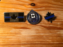 Load image into Gallery viewer, The Thin Blue Line Canada Challenge Coin and Lapel Pin Set
