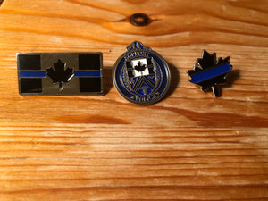 The Thin Blue Line Canada Challenge Coin and Lapel Pin Set