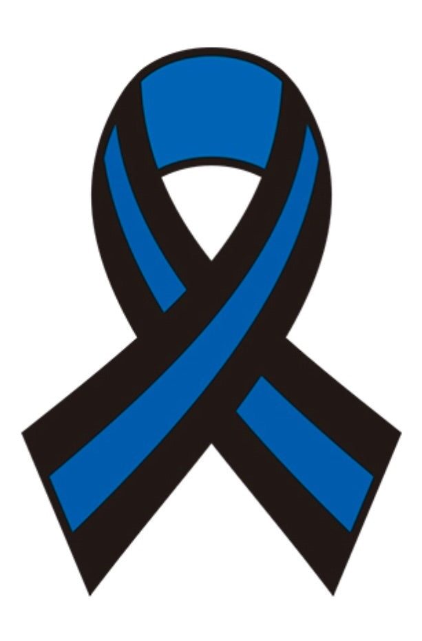 Thin Blue Line Ribbon Decal 3