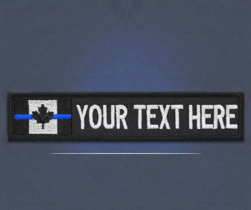 Custom Thin Blue Line Canada Flag Name Tag (Free Shipping)