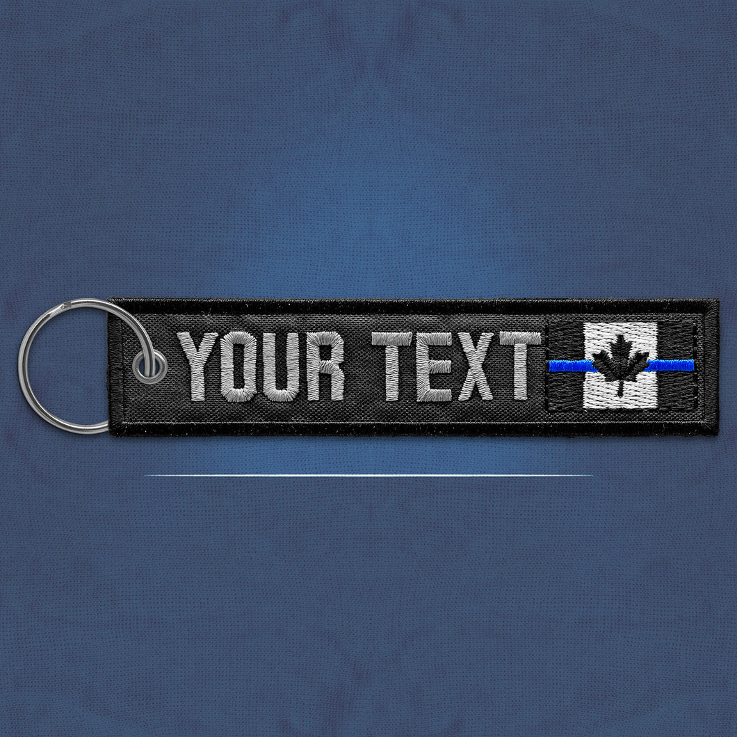 Custom Thin Blue Line Canada Flag Keychain Ring