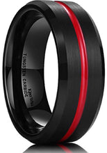 Load image into Gallery viewer, Thin Red Line Black Tungsten Ring