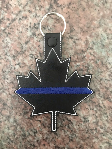 Thin Blue Line Canada Maple Leaf Keychain