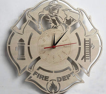 Load image into Gallery viewer, Wooden Firefighter Wall Clock