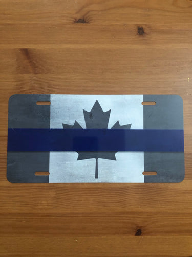 Thin Blue Line Canada Subdued Flag Aluminum License Plate
