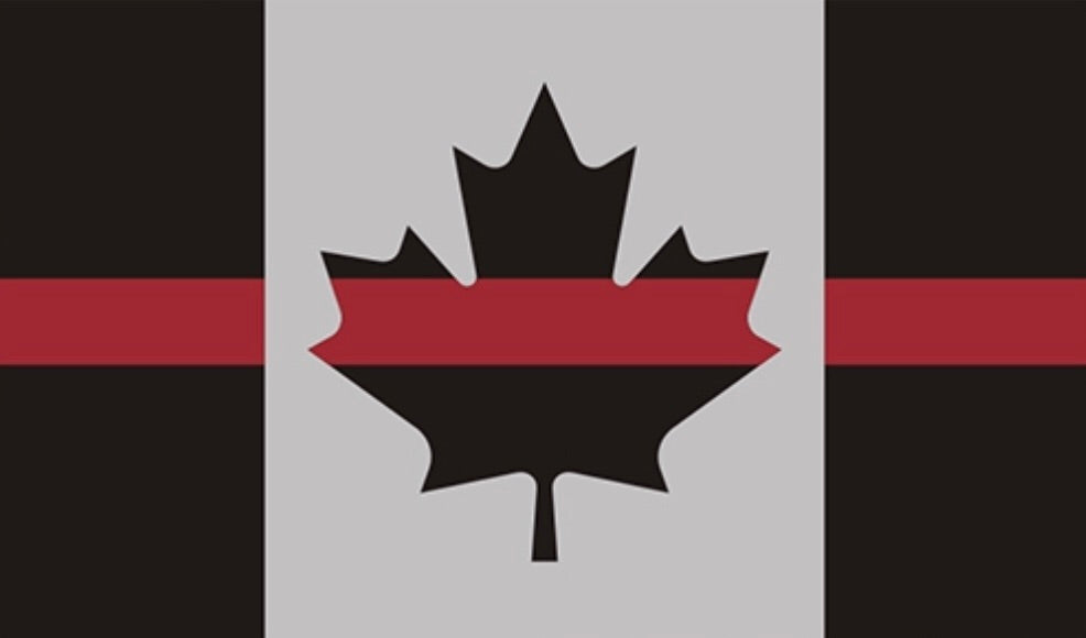 Thin Red Line Canada Subdued Flag REFLECTIVE Decal /Sticker