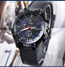 Load image into Gallery viewer, Genuine Leather Strap Thin Blue Line Inspired Watch