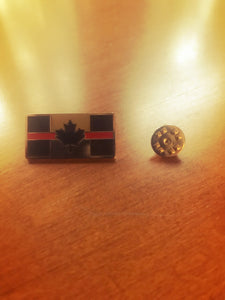 Metal Thin Red Line Canadian Flag Lapel Pin