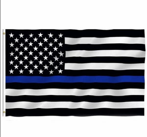 Thin Blue Line American Full Size Black and White Flag