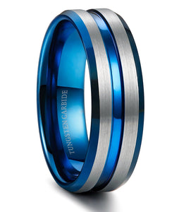 Thin Blue Line 8mm Tungsten Ring for Men Blue Grooved Brushed Size 7-14