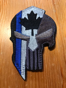 Spartan / Punisher Thin Blue Line Canada Patch