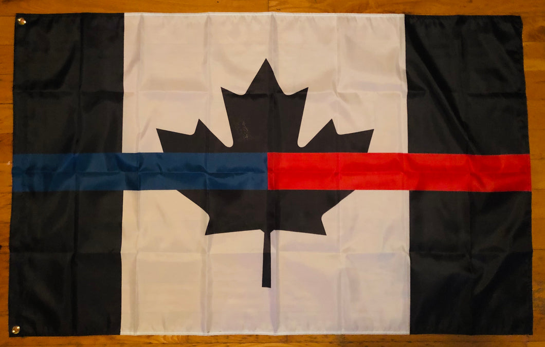 Full Size 5' x 3 ' Joint Thin Blue Line / Thin Red Line Canadian Flag