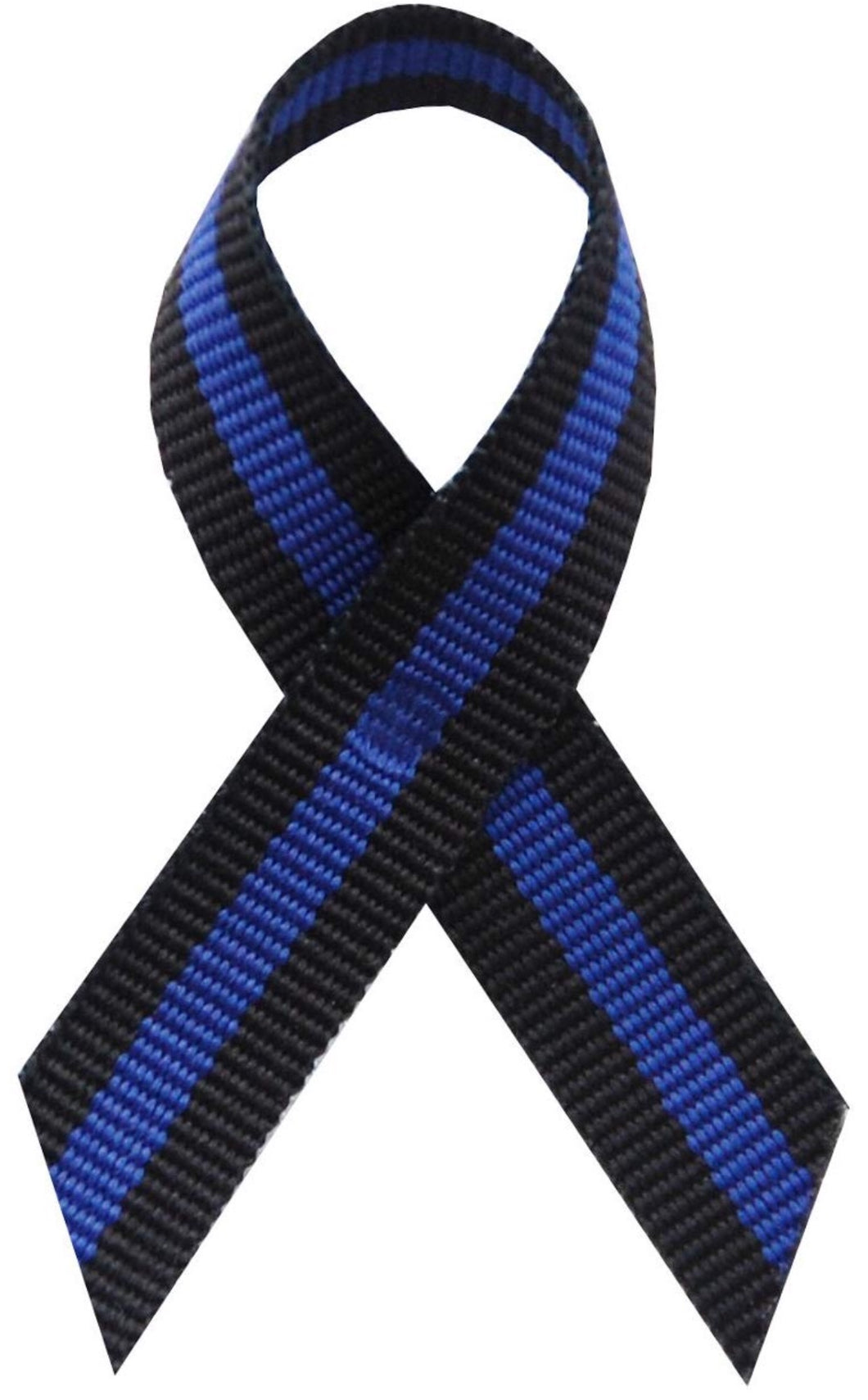 Thin Blue Line Fabric Awareness Ribbons -Lapel Ribbons w/Safety Pins