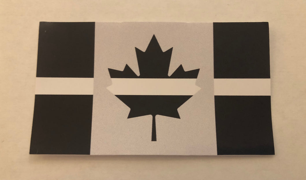 Thin White Line Canadian Flag Decal / Sticker (9 cm x 5 cm)
