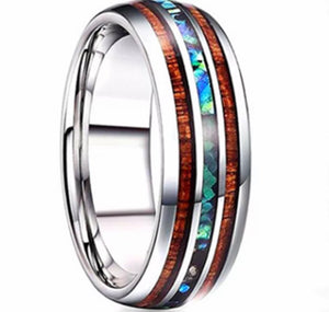 Men's Thin Blue Line Wood Inlay Titanium Steel 8 mm Ring