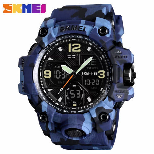 Thin Blue Line Inspired Military Blue Camo Watch LED Quartz, Digtial Dual Time 50m Waterproof